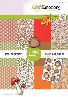 CraftEmotions Design Hedgy Autumn 12 vel  push out vel - A5 Carla Creaties A5 12? (08-21)