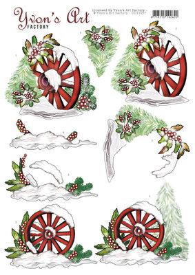 CD11697 3D Cutting Sheet - Yvon's Art - Christmas Wagonwheel