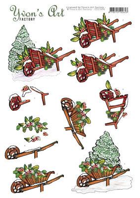CD11696 3D Cutting Sheet - Yvon's Art - Christmas Wheelbarrow