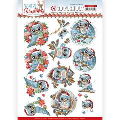 SB10580 3D Push Out - Yvonne Creations - Wintry Christmas - Christmas Owls
