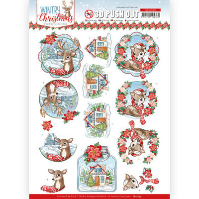 SB10579 3D Push Out - Yvonne Creations - Wintry Christmas - Christmas Deer