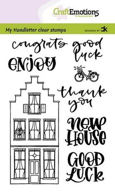 CraftEmotions clearstamps A6 - handletter - Nieuwe Woning 2 (Eng) Carla Kamphuis (08-21)