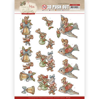 SB10585 3D Push Out - Yvonne Creations - Have a Mice Christmas - Christmas Socks
