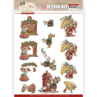 SB10584 3D Push Out - Yvonne Creations - Have a Mice Christmas - Sending Christmas Cards
