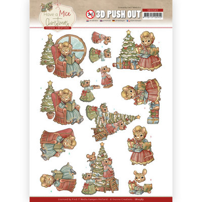 SB10583 3D Push Out - Yvonne Creations - Have a Mice Christmas - Decorating