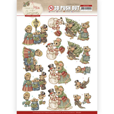 SB10582 3D Push Out - Yvonne Creations - Have a Mice Christmas - Christmas Carol