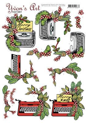 CD11698 3D Cutting Sheet - Yvon's Art -Christmas Typewriter