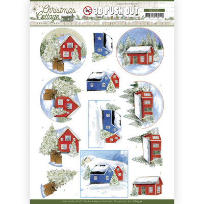 SB10592 3D Push Out - Jeanine's Art - Christmas Cottage - Winter Cottage