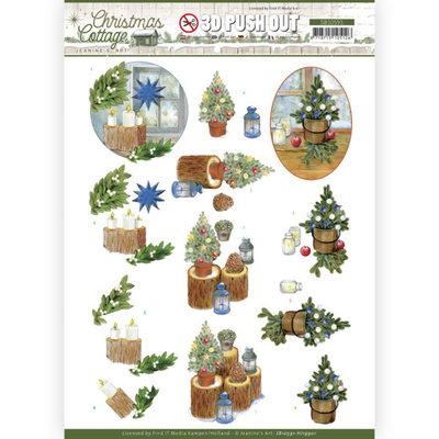 SB10591 3D Push Out - Jeanine's Art - Christmas Cottage - Blue Decorations