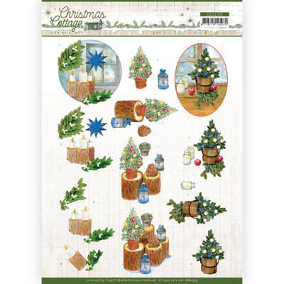 CD11723 3D Cutting Sheet - Jeanine's Art - Christmas Cottage - Blue Decorations
