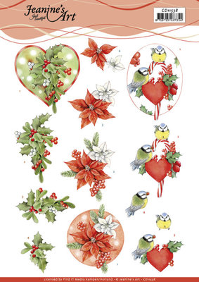 CD11538 3D Cutting Sheet - Jeanine's Art - Red Holly Berries