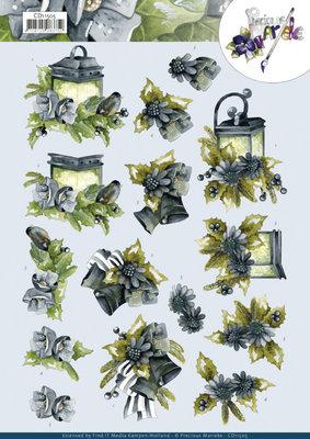 CD11505 3D Cutting Sheet - Precious Marieke - Blue Flowers