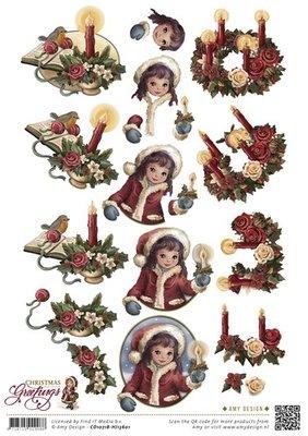 3D knipvel Card Deco CD10718 Amy Design - Christmas Greetings - Kerstkaarsen
