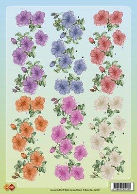 3D knipvel Card Deco hj7201 Bloemen A4