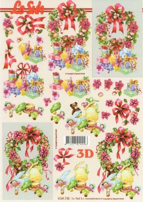 3D knipvel Le Suh 4169.735 Kerstkrans en kadootjes A4