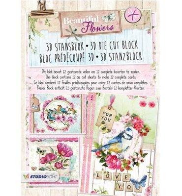 3D stansblok - Studiolight - nr. 40 - Beautiful Flowers