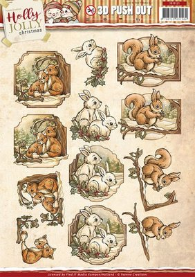 3D uitdrukvel Card Deco SB10121 Yvonne Creations - Holly Jolly - Animals