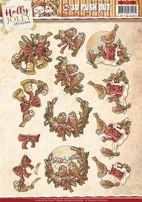 3D uitdrukvel Card Deco SB10122 Yvonne Creations - Holly Jolly - Birds