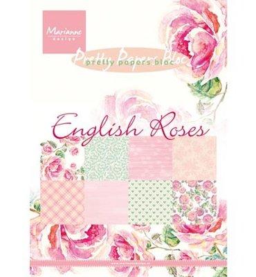 PK9143 Pretty Paper Bloc - Marianne Design - English Roses - A5 - 8 dessins - 32 sheets