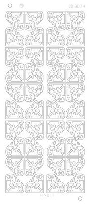 Stickervel 3074 CD Flower Corners Platinum