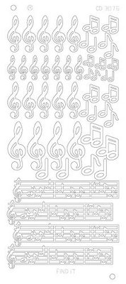 Stickervel 3076 CD Music Notes Platinum