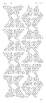 Stickervel 3077 CD Butterflies Large Platinum