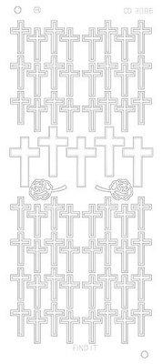 Stickervel 3086 CD Crosses Platinum