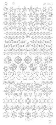Stickervel 3092 CD Various Stars Snowflake Platinum