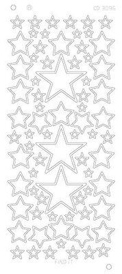 Stickervel 3096 CD Stars Various Sizes Platinum
