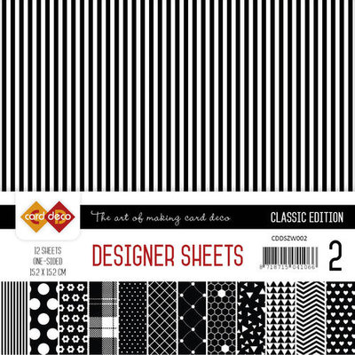 CDDSZW002 Card Deco - Designer Sheets - Classic Edition- zwart