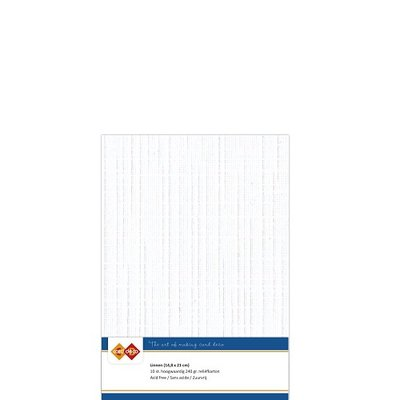01 Card Deco Linnen A5 10 vel Wit 240grm