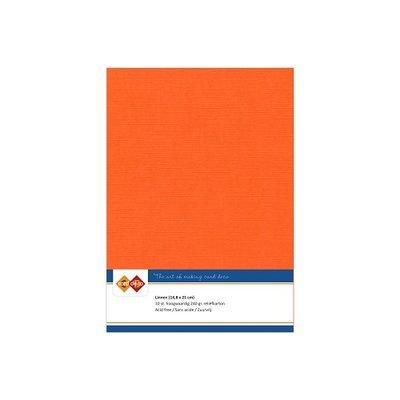 11 Card Deco Linnen A5 10 vel Oranje 240grm