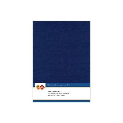 30 Card Deco Linnen A5 10 vel Donkerblauw 240grm