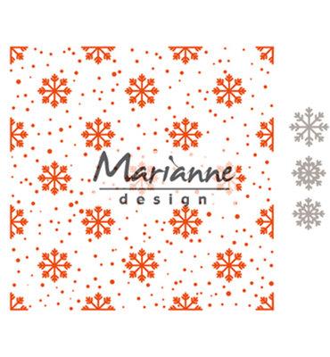 DF3440 - Marianne Design - Design Folder + Die - Snow and Ice Crystals - 152x154mm