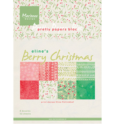 PB7053 - Marianne Design - Pretty Papers Bloc - Berry Christmas - A5 - 4x8 designs