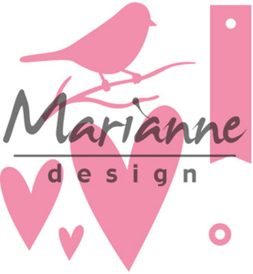 COL1443 – Marianne Design – Collectables – Giftwrapping - Karin's bird, hearts & tag