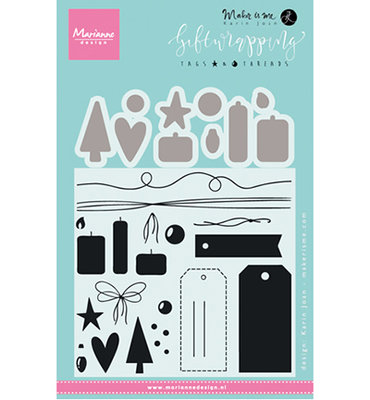KJ1716 – Marianne Design – Clear stamp – Giftwrapping: Tags & threads