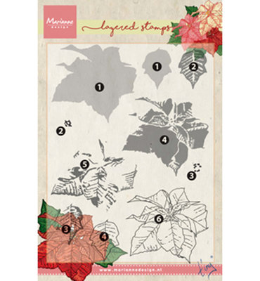 TC0859 – Marianne Design – Clear stamp Tiny's poinsettia (layering)