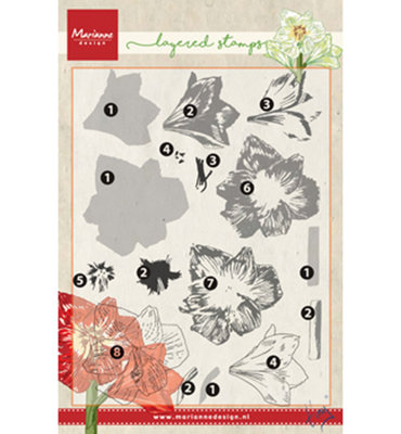 TC0860 – Marianne Design – Clear stamp Tiny's amaryllis (layering)