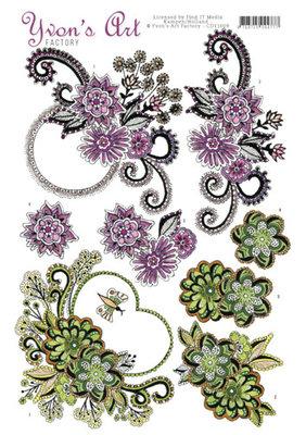 CD11009 - 3D knipvel - Yvon's Art Factory - Flower swirls