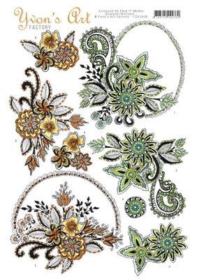 CD11008 - 3D knipvel - Yvon's Art Factory - Flower Ornaments