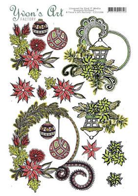 CD11006 - 3D knipvel - Yvon's Art Factory - Christmas Swirls
