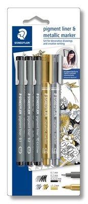 Staedtler - Pigment Fineliner & Metallic Marker - 3 stuks + 2 stuks