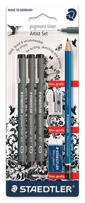 Staedtler - Pigment Fineliner - 3 stuks + 2B potlood, gum, slijper