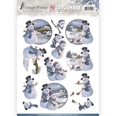 SB10214 – Pushout- Amy Design - Vintage Winter – Snowman