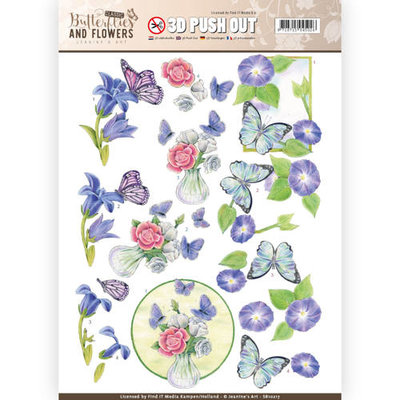 SB10217 – 3D Push Out - Jeanine's Art - Classic Butterflies and Flowers - Butterflies on blue flowers