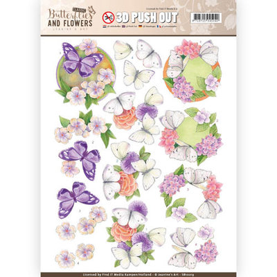 SB10219 – 3D Push Out - Jeanine's Art - Classic Butterflies and Flowers - White Butterflies