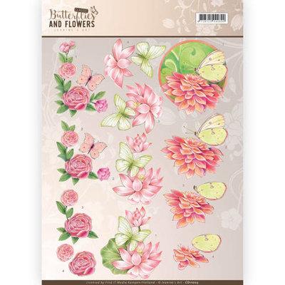 CD11003 - 3D Knipvel - Jeanine's Art - Classic Butterflies and Flowers - Pink Flowers