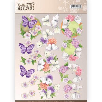 CD11002 - 3D Knipvel - Jeanine's Art - Classic Butterflies and Flowers - Purple Flowers