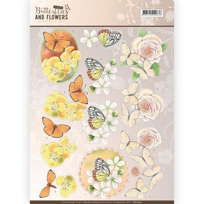 CD11001 – 3D Knipvel - Jeanine's Art - Classic Butterflies and Flowers - Yellow Flowers